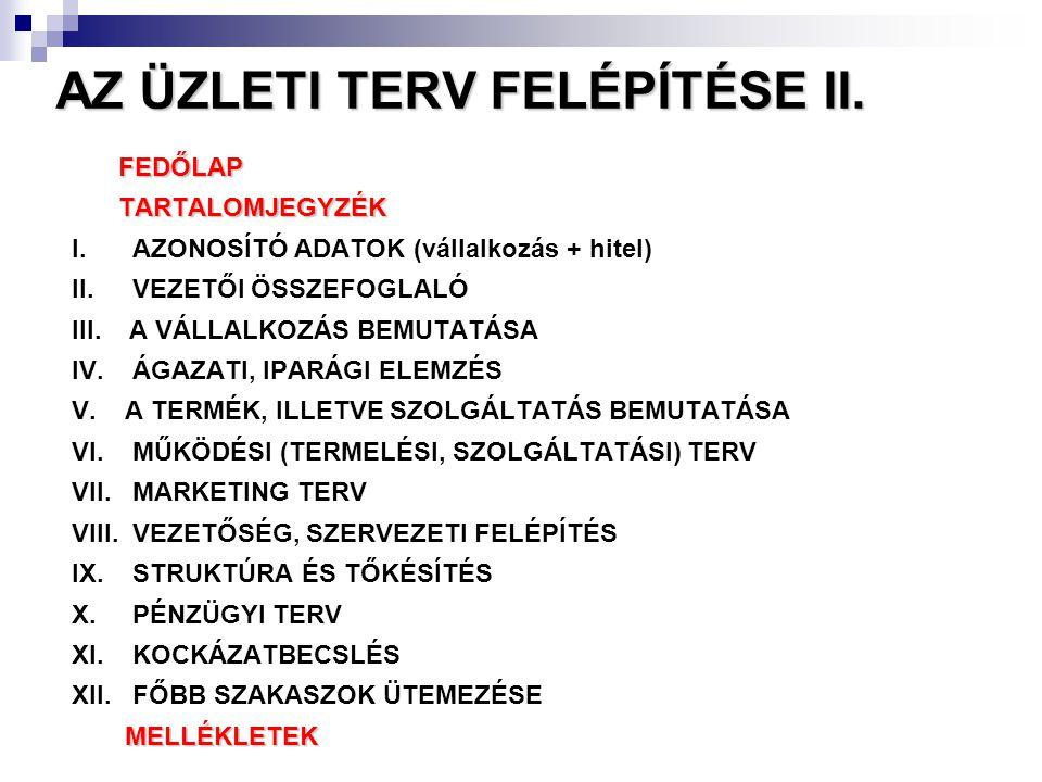AZ ÜZLETI TERV FELÉPÍTÉSE II.