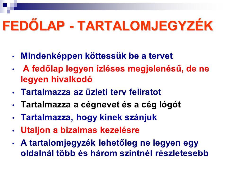 FEDŐLAP - TARTALOMJEGYZÉK