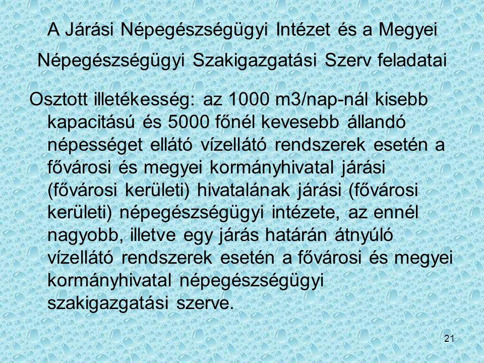 A Járási Népegészségügyi Intézet és a Megyei Népegészségügyi Szakigazgatási Szerv feladatai