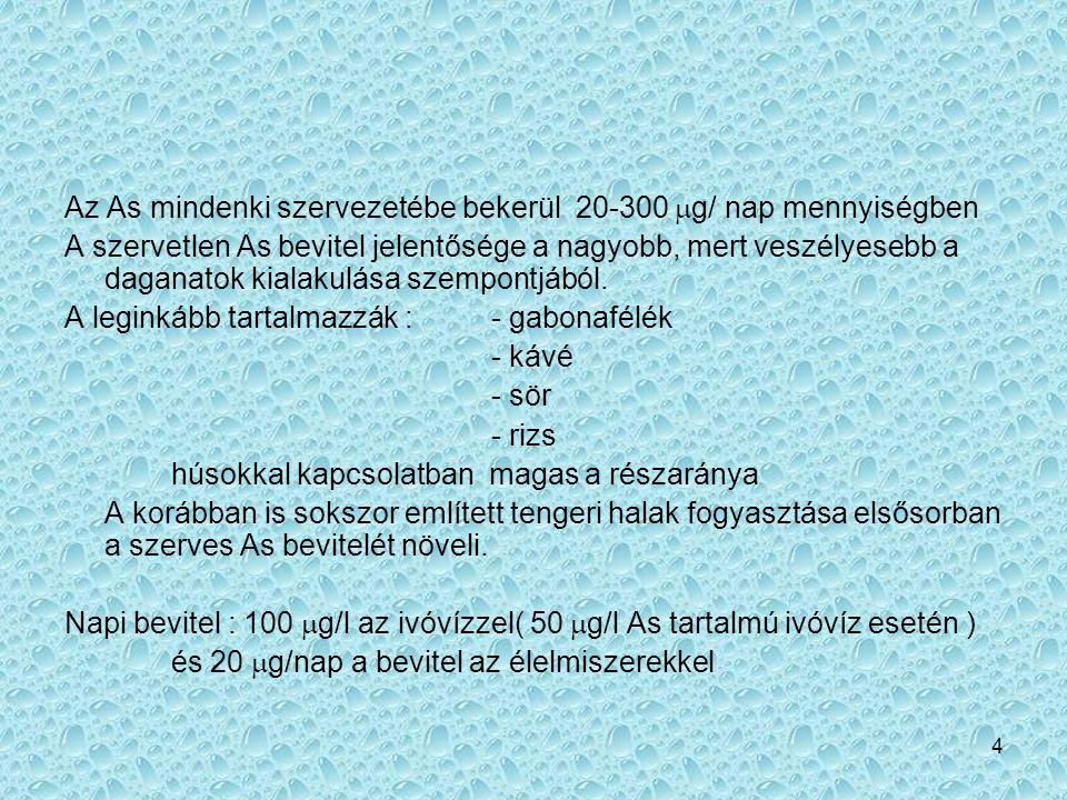 Az As mindenki szervezetébe bekerül 20-300 mg/ nap mennyiségben