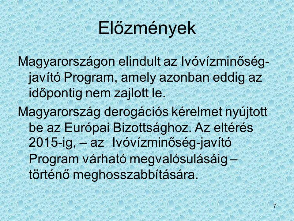 Előzmények Magyarországon elindult az Ivóvízminőség- javító Program, amely azonban eddig az időpontig nem zajlott le.