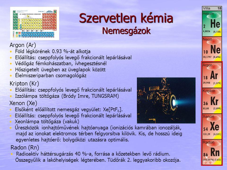 Szervetlen kémia Nemesgázok