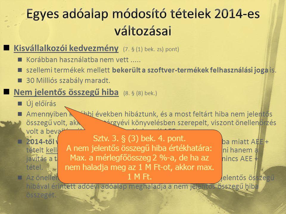 Egyes adóalap módosító tételek 2014-es változásai