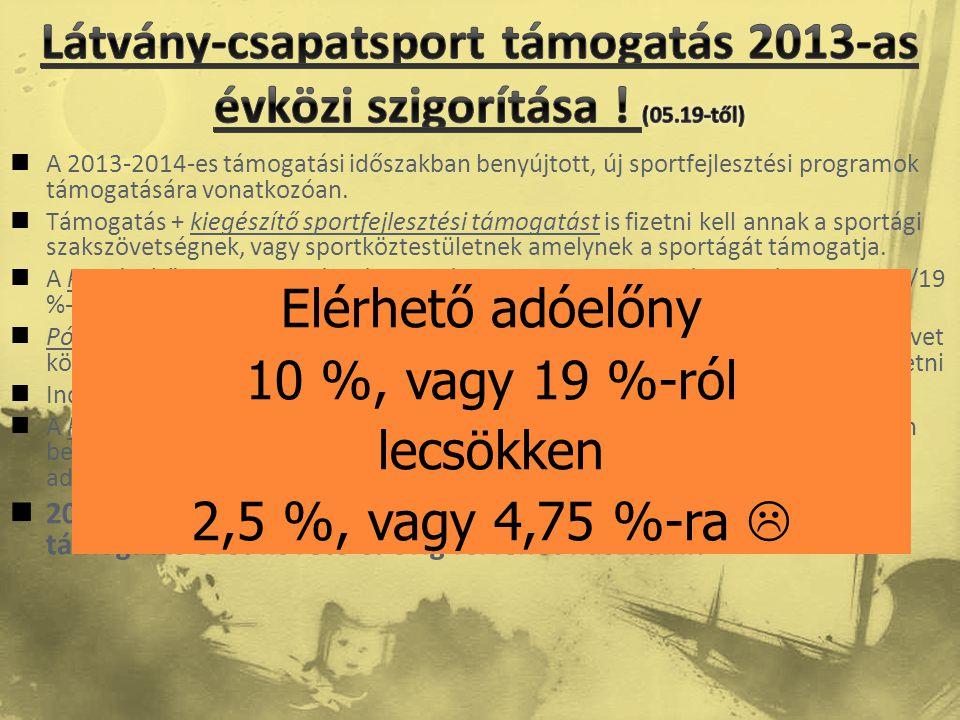 Látvány-csapatsport támogatás 2013-as évközi szigorítása ! (05.19-től)
