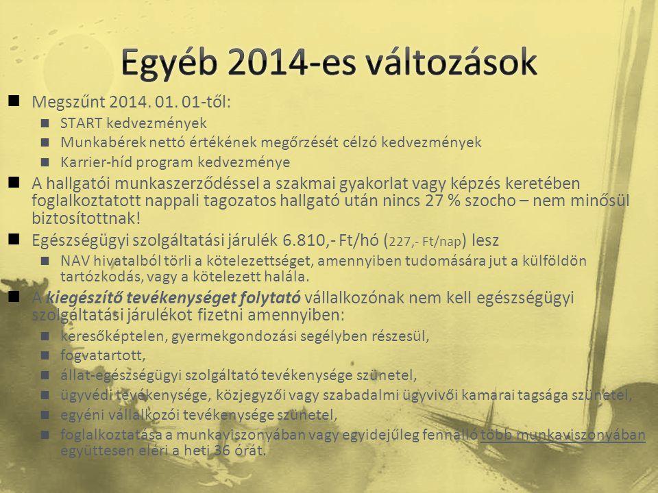 Egyéb 2014-es változások Megszűnt 2014. 01. 01-től:
