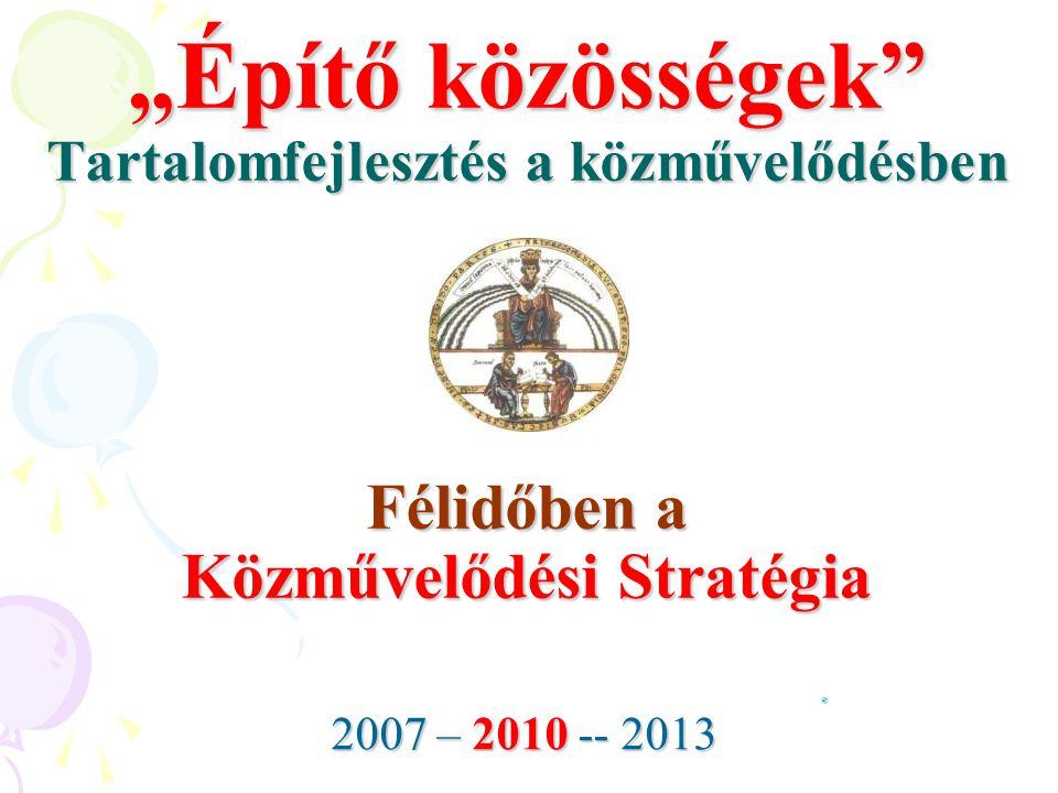 """""""Építő közösségek Tartalomfejlesztés a közművelődésben Félidőben a Közművelődési Stratégia"""