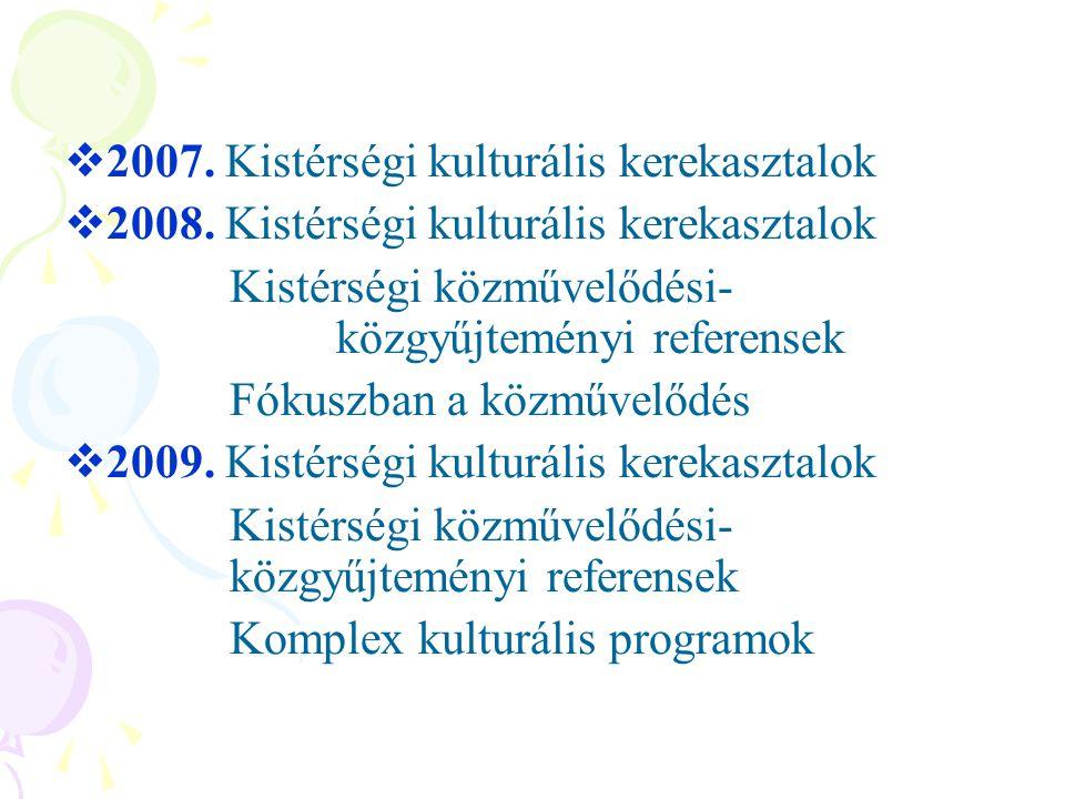 2007. Kistérségi kulturális kerekasztalok