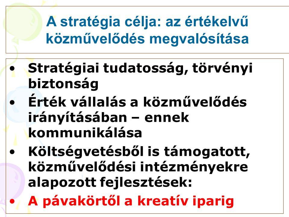 A stratégia célja: az értékelvű közművelődés megvalósítása