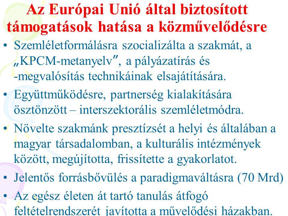 Az Európai Unió által biztosított támogatások hatása a közművelődésre