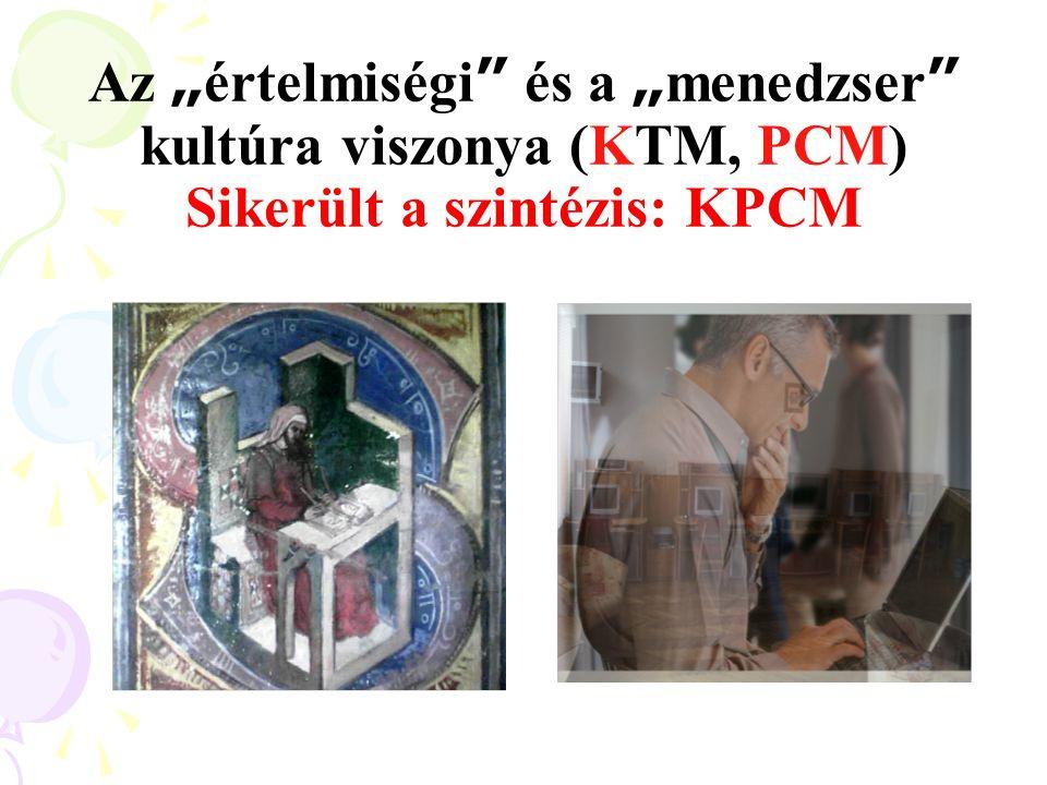 """Az """"értelmiségi és a """"menedzser kultúra viszonya (KTM, PCM) Sikerült a szintézis: KPCM"""
