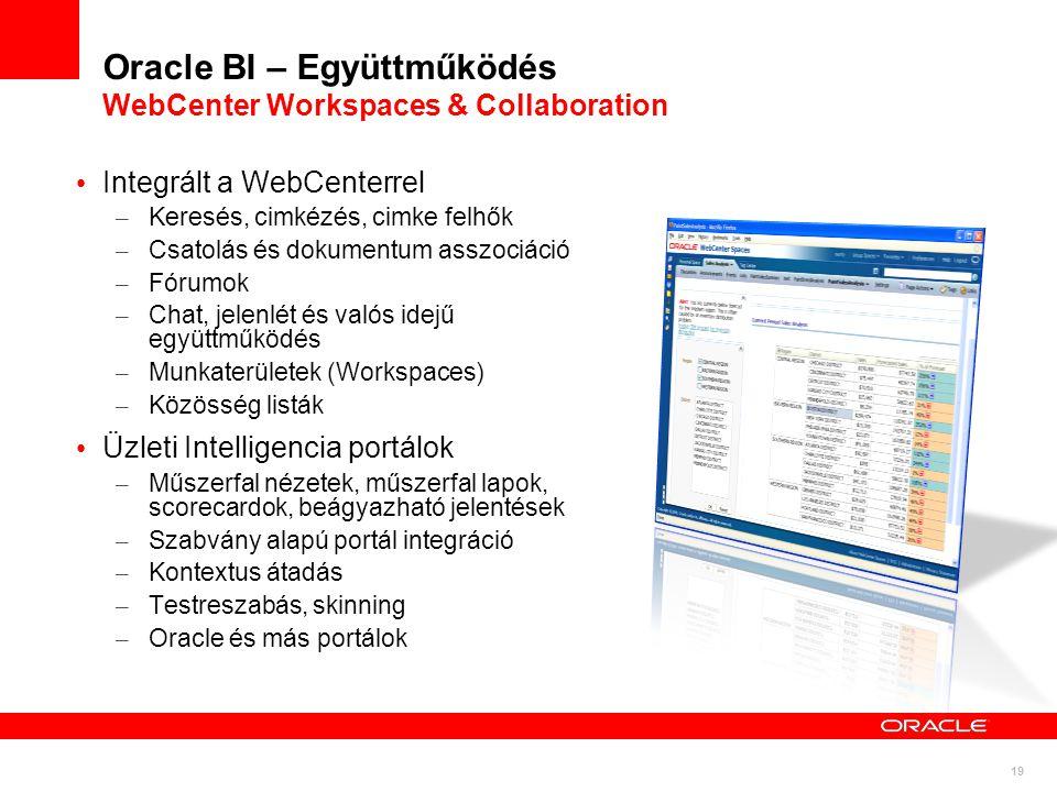 Oracle BI – Együttműködés WebCenter Workspaces & Collaboration