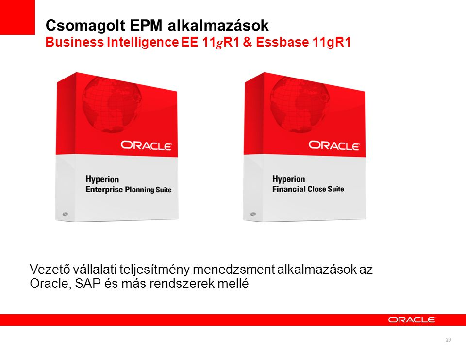 Csomagolt EPM alkalmazások Business Intelligence EE 11gR1 & Essbase 11gR1