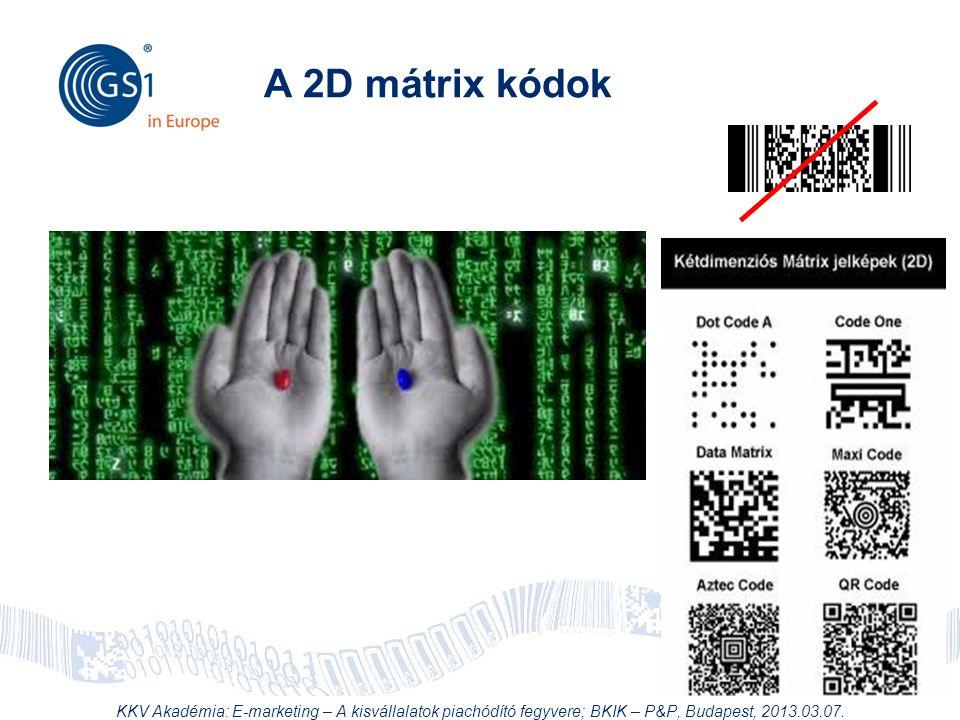 A 2D mátrix kódok KKV Akadémia: E-marketing – A kisvállalatok piachódító fegyvere; BKIK – P&P, Budapest, 2013.03.07.