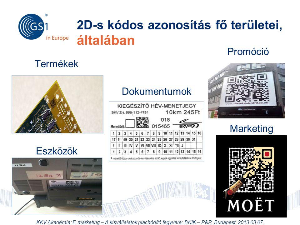 2D-s kódos azonosítás fő területei, általában