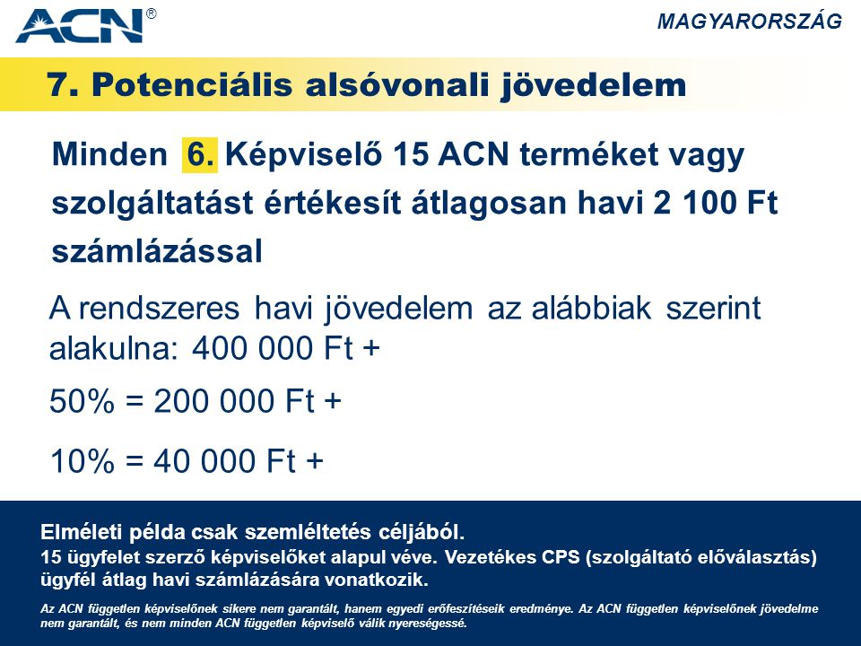 7. Potenciális alsóvonali jövedelem