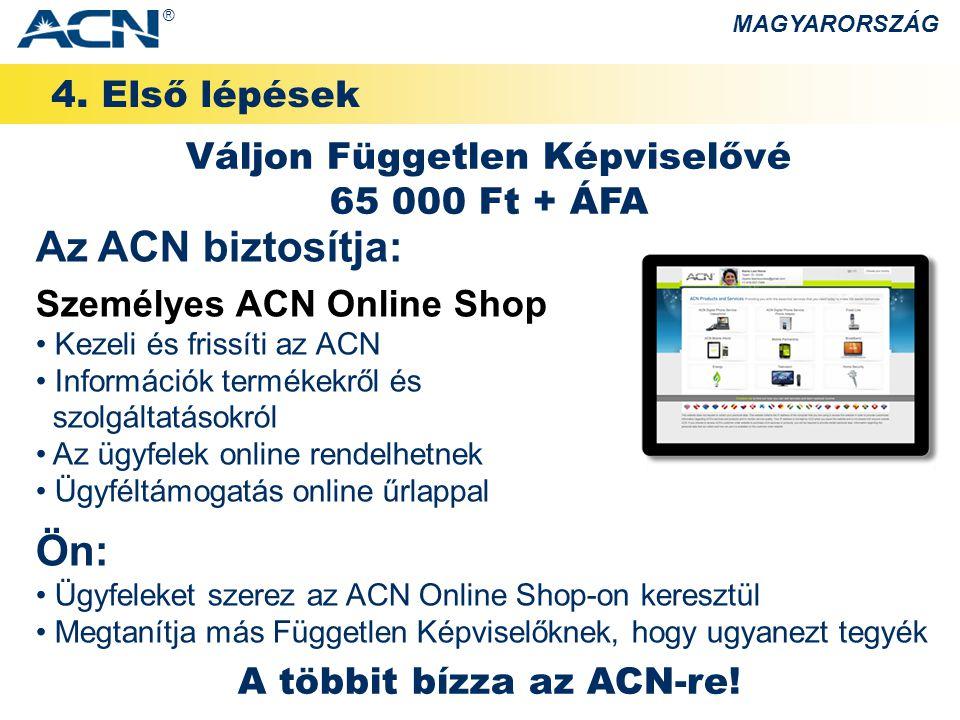 Az ACN biztosítja: Ön: 4. Első lépések