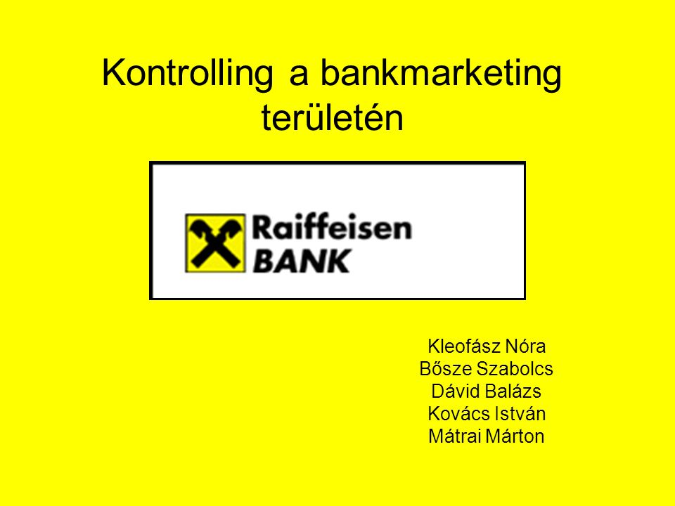 Kontrolling a bankmarketing területén