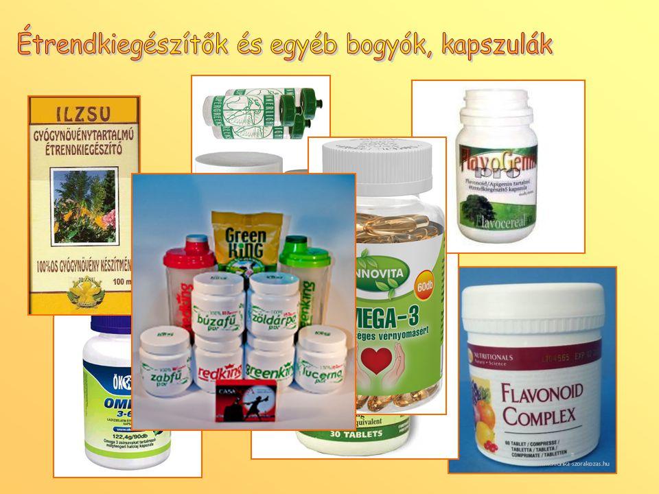 Étrendkiegészítők és egyéb bogyók, kapszulák