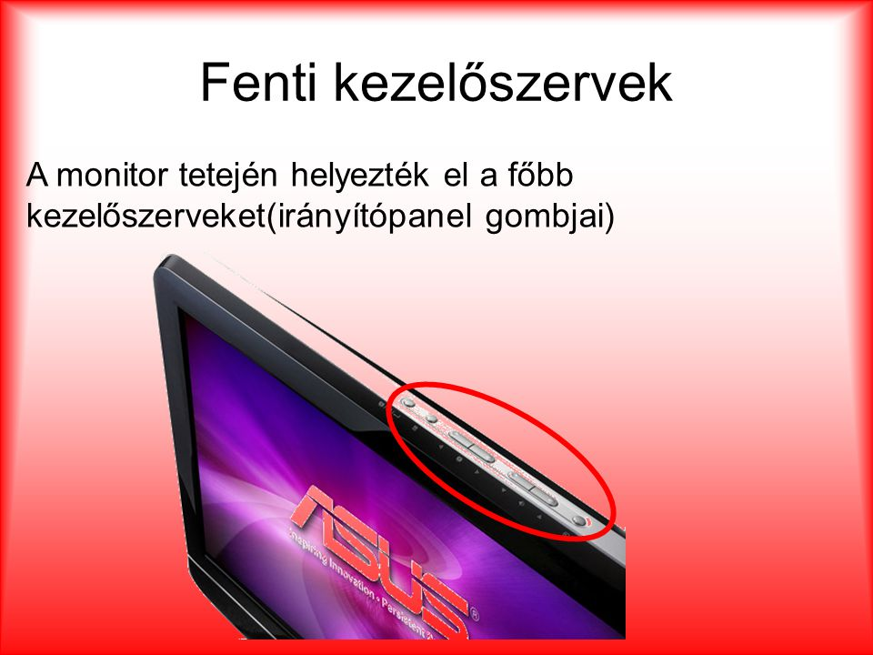 Fenti kezelőszervek A monitor tetején helyezték el a főbb kezelőszerveket(irányítópanel gombjai)
