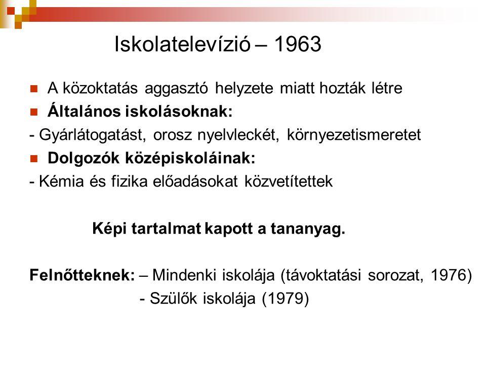 Iskolatelevízió – 1963 A közoktatás aggasztó helyzete miatt hozták létre. Általános iskolásoknak: