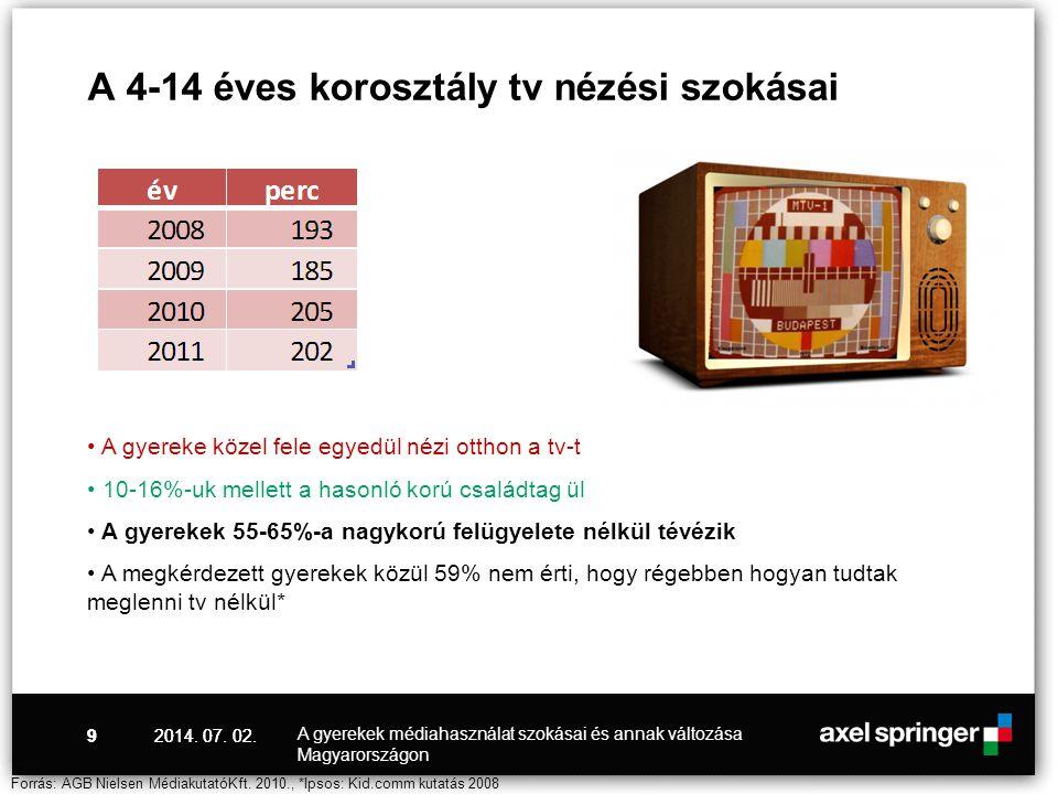 A 4-14 éves korosztály tv nézési szokásai