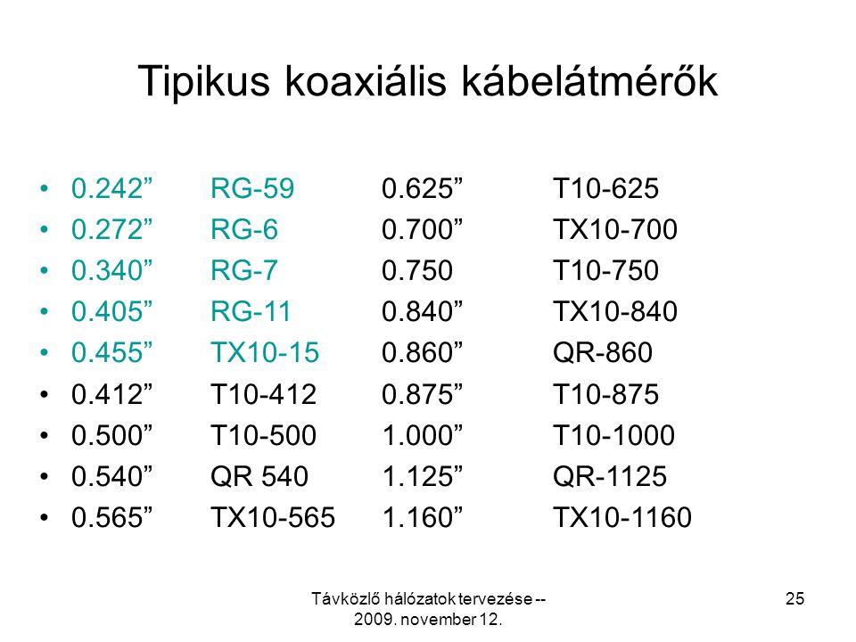 Tipikus koaxiális kábelátmérők