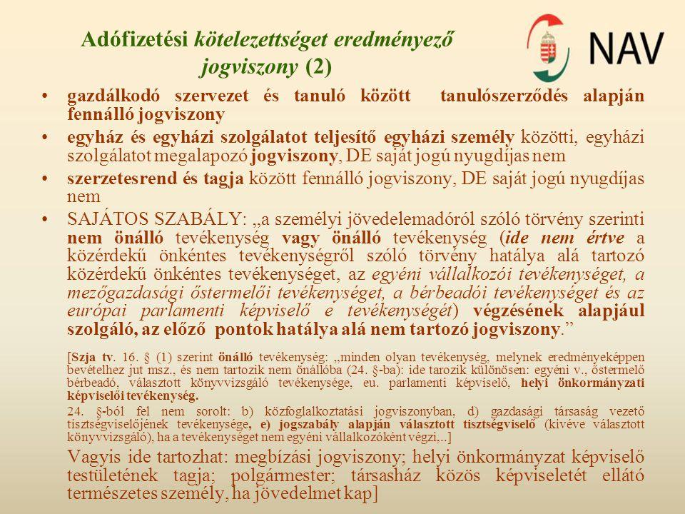 Adófizetési kötelezettséget eredményező jogviszony (2)
