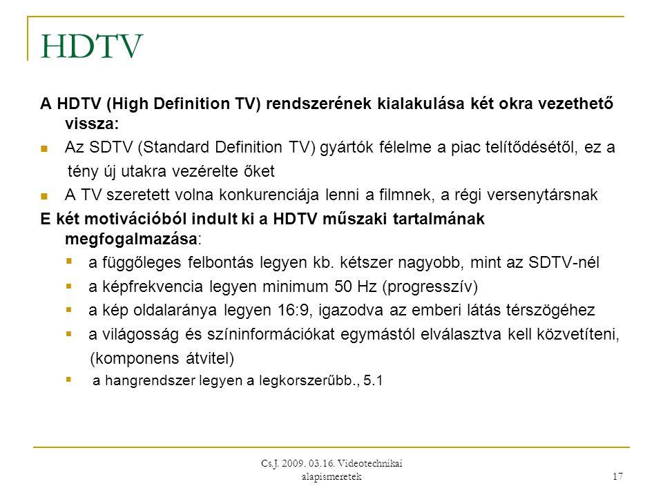 Cs.J. 2009. 03.16. Videotechnikai alapismeretek