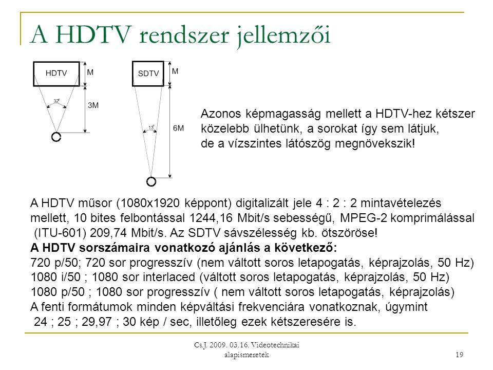 A HDTV rendszer jellemzői