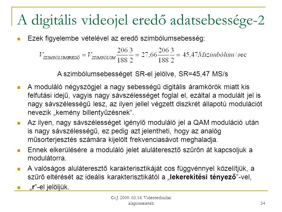 A digitális videojel eredő adatsebessége-2