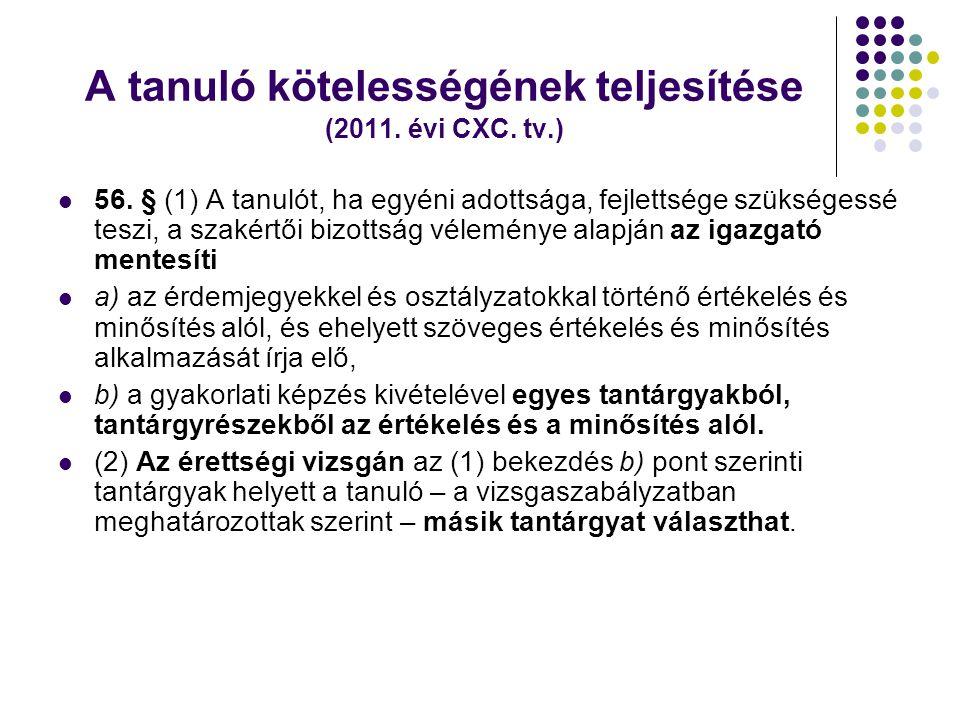 A tanuló kötelességének teljesítése (2011. évi CXC. tv.)