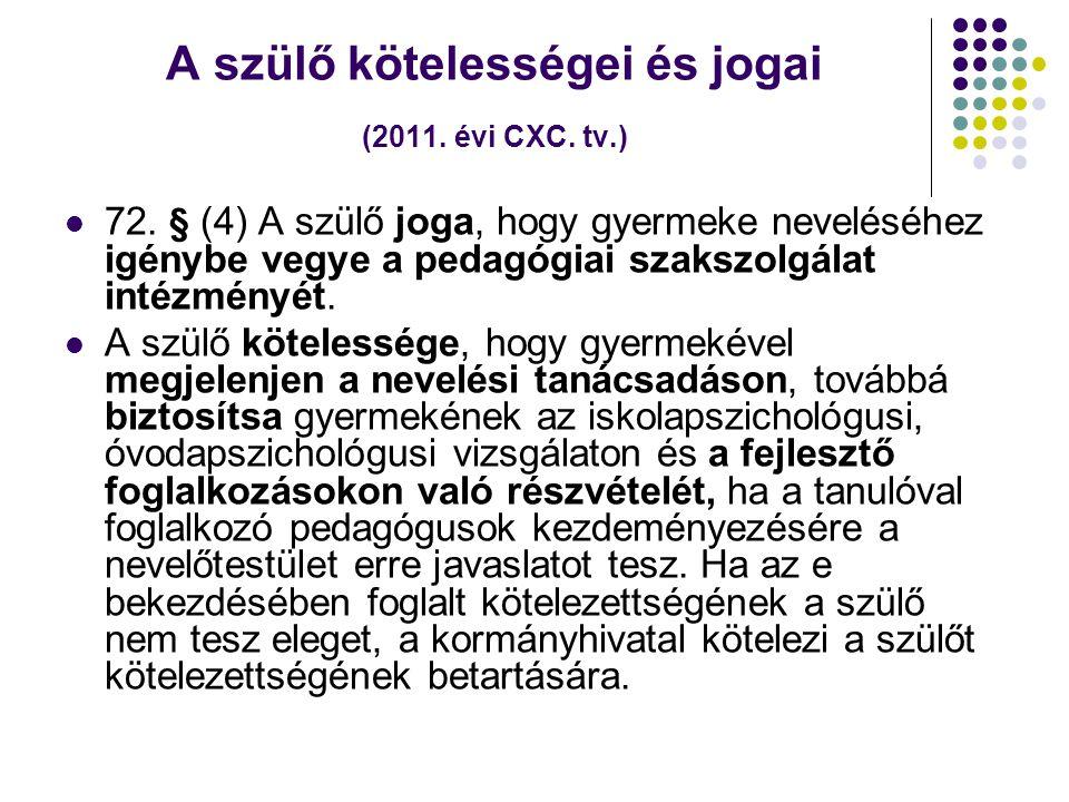 A szülő kötelességei és jogai (2011. évi CXC. tv.)