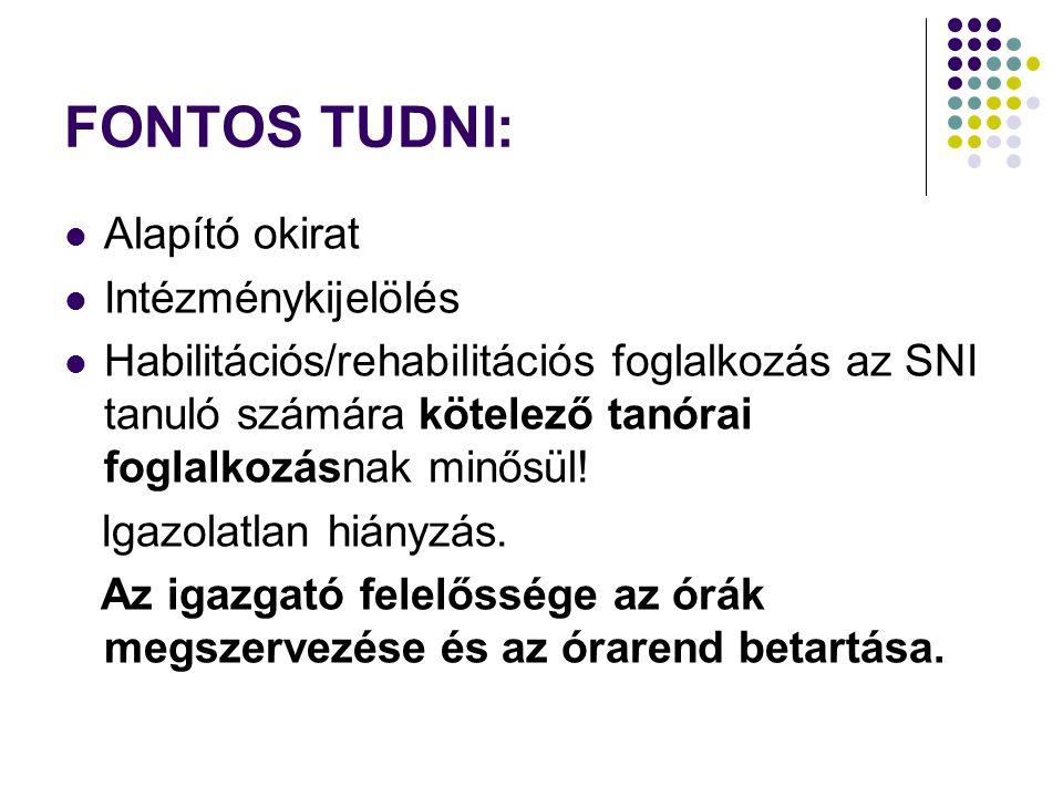 FONTOS TUDNI: Alapító okirat Intézménykijelölés