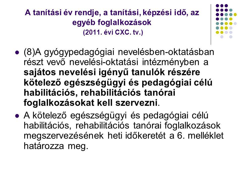 A tanítási év rendje, a tanítási, képzési idő, az egyéb foglalkozások (2011. évi CXC. tv.)