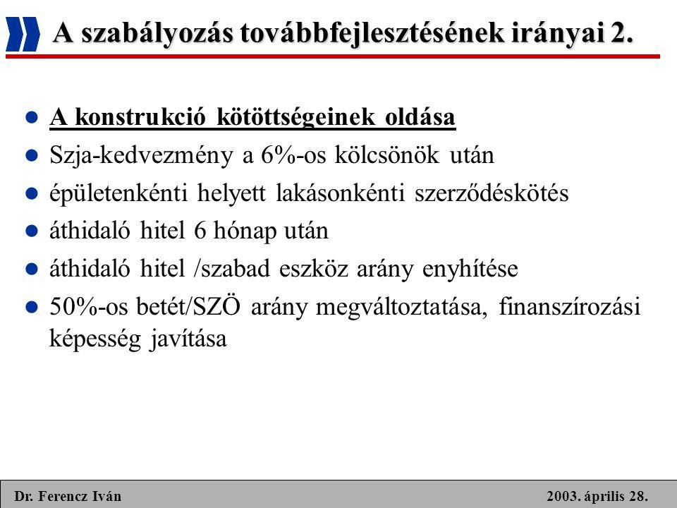 A szabályozás továbbfejlesztésének irányai 2.