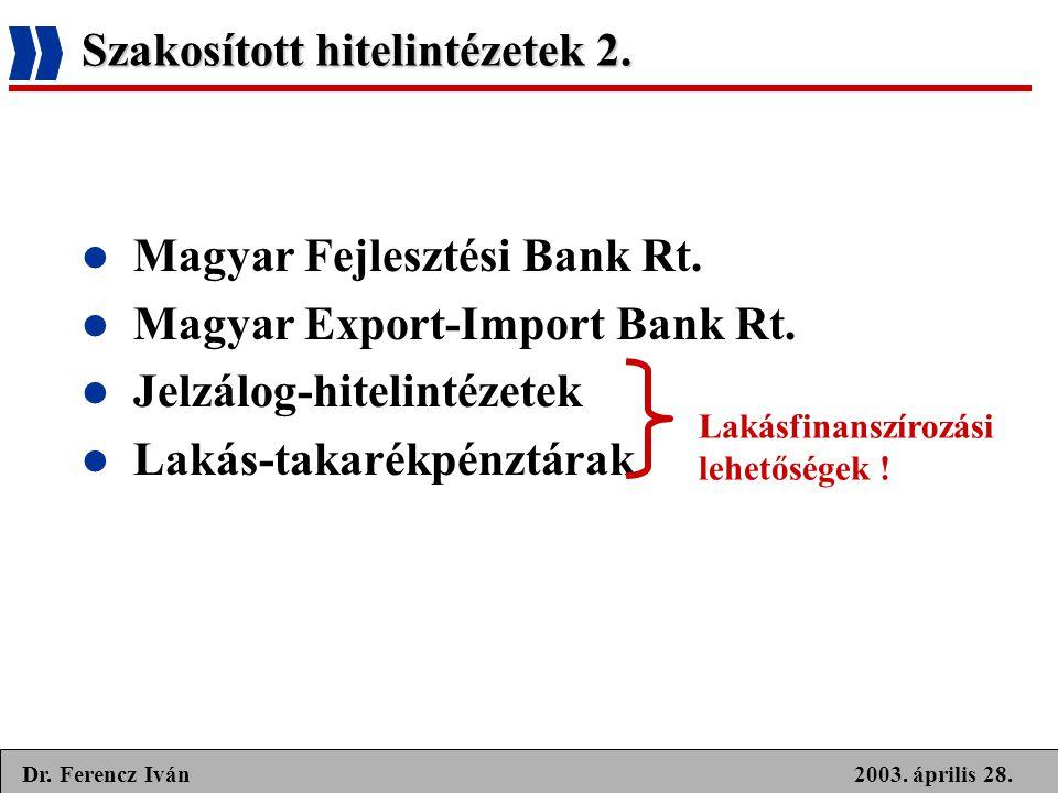 Szakosított hitelintézetek 2.