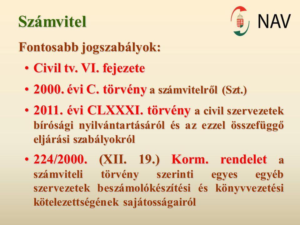 Számvitel Fontosabb jogszabályok: Civil tv. VI. fejezete