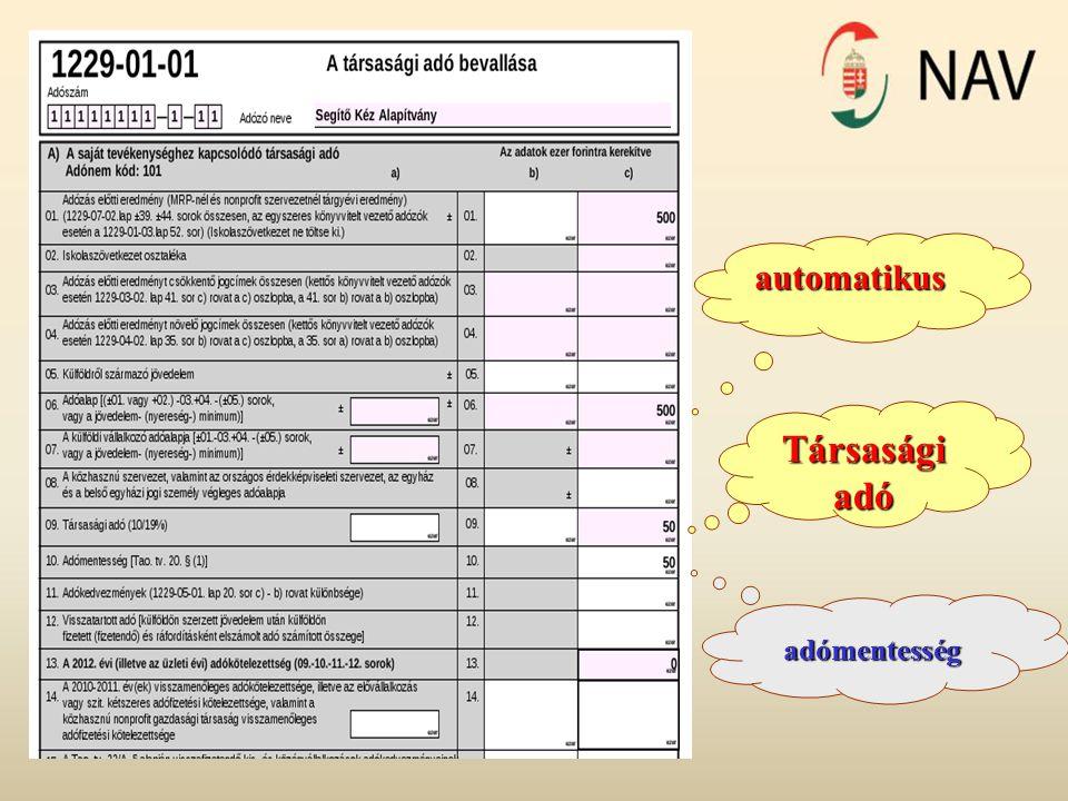 automatikus Társasági adó adómentesség