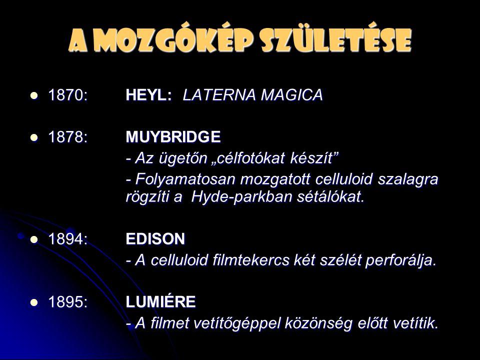 A mozgókép születése 1870: HEYL: LATERNA MAGICA 1878: MUYBRIDGE