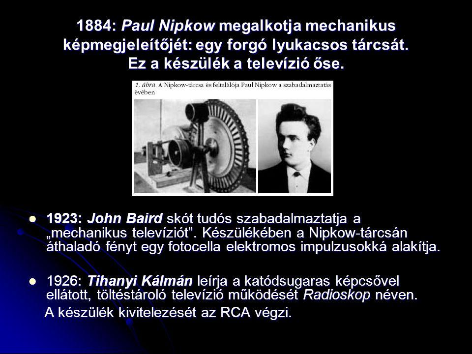 1884: Paul Nipkow megalkotja mechanikus képmegjeleítőjét: egy forgó lyukacsos tárcsát. Ez a készülék a televízió őse.