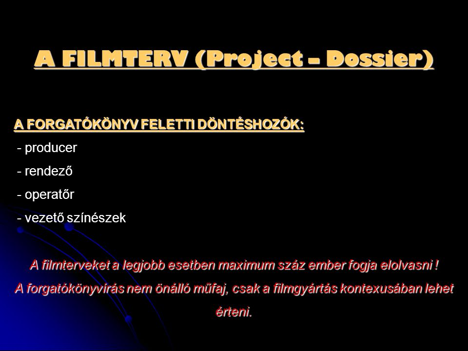 A FILMTERV (Project – Dossier)
