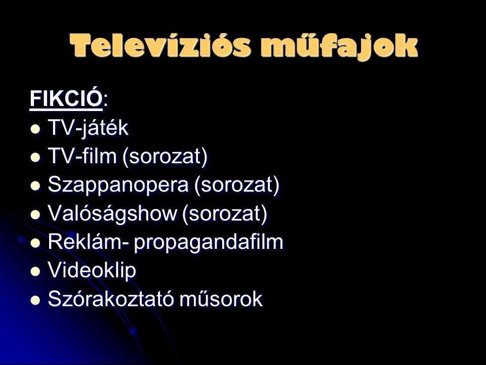 Televíziós műfajok FIKCIÓ: TV-játék TV-film (sorozat)