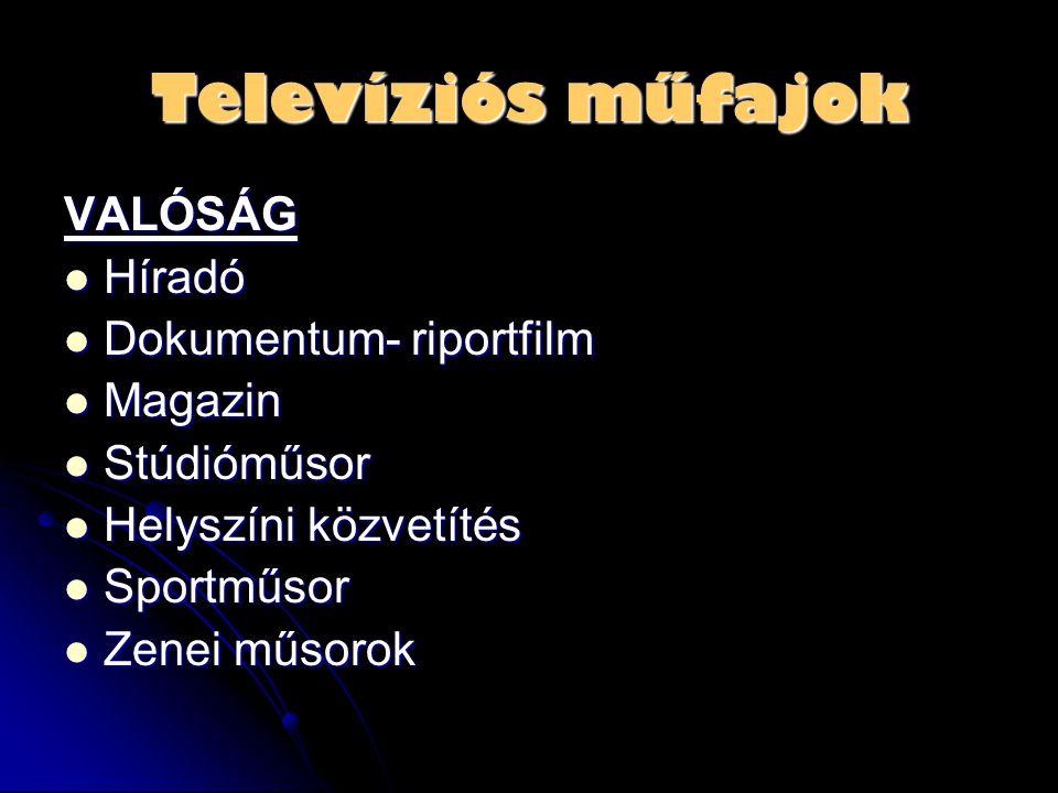 Televíziós műfajok VALÓSÁG Híradó Dokumentum- riportfilm Magazin