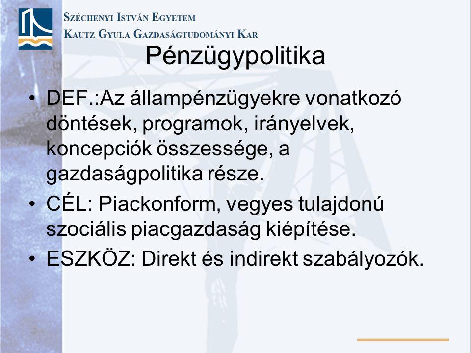 Pénzügypolitika DEF.:Az állampénzügyekre vonatkozó döntések, programok, irányelvek, koncepciók összessége, a gazdaságpolitika része.
