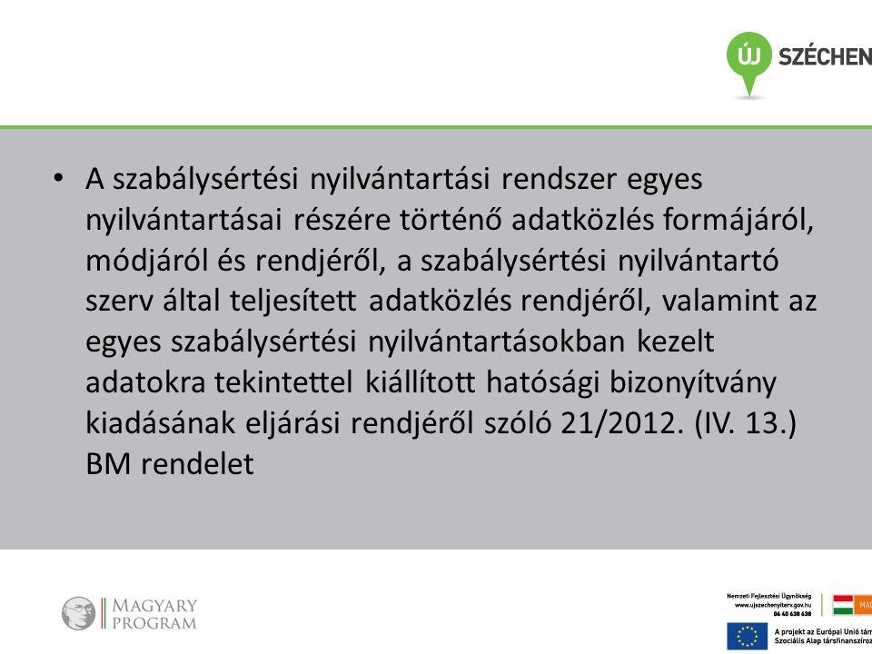 A szabálysértési nyilvántartási rendszer egyes nyilvántartásai részére történő adatközlés formájáról, módjáról és rendjéről, a szabálysértési nyilvántartó szerv által teljesített adatközlés rendjéről, valamint az egyes szabálysértési nyilvántartásokban kezelt adatokra tekintettel kiállított hatósági bizonyítvány kiadásának eljárási rendjéről szóló 21/2012.