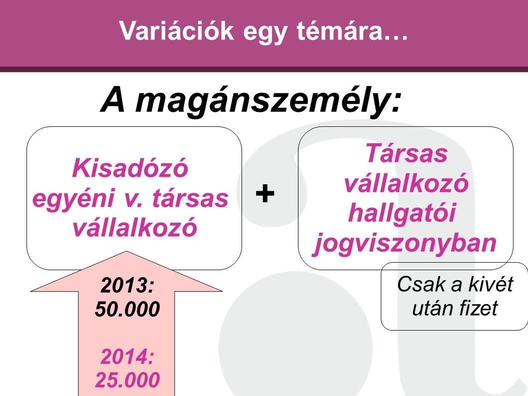 A magánszemély: + Variációk egy témára… Társas Kisadózó vállalkozó