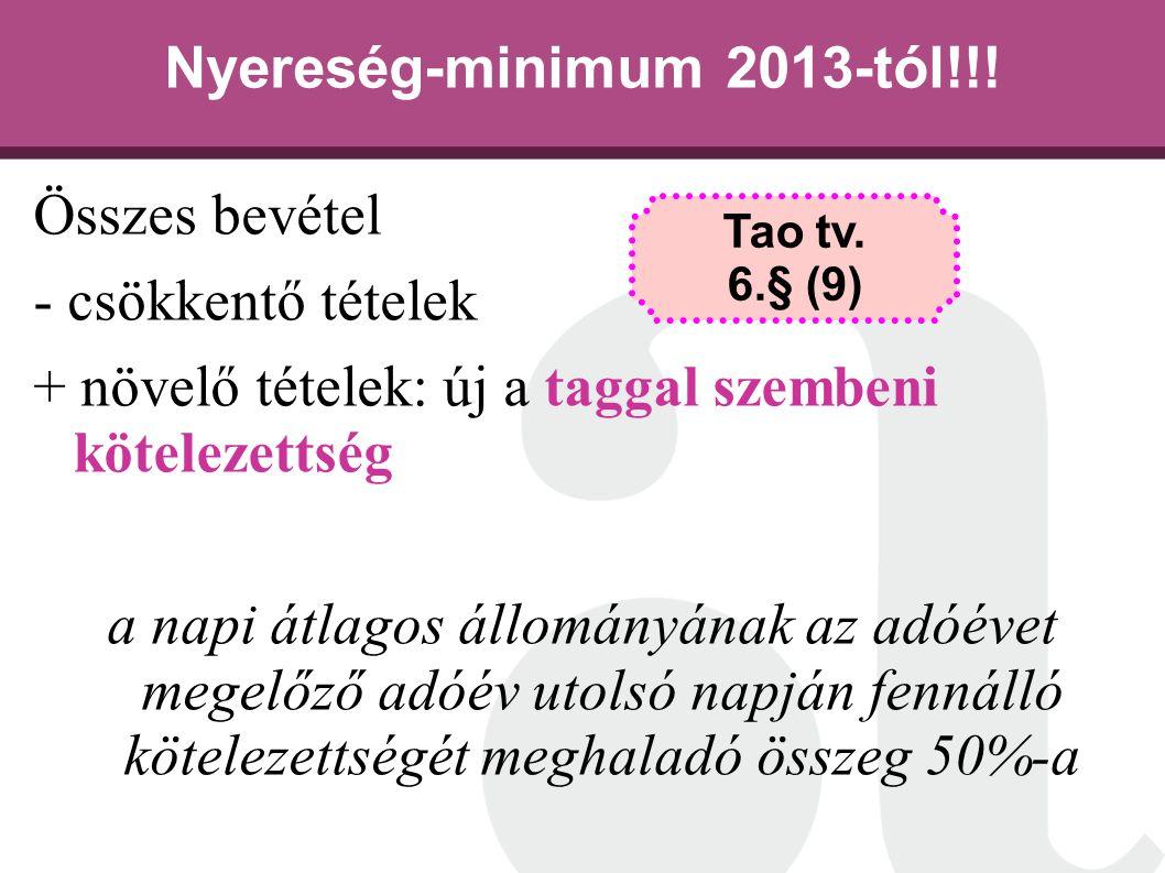 Nyereség-minimum 2013-tól!!!