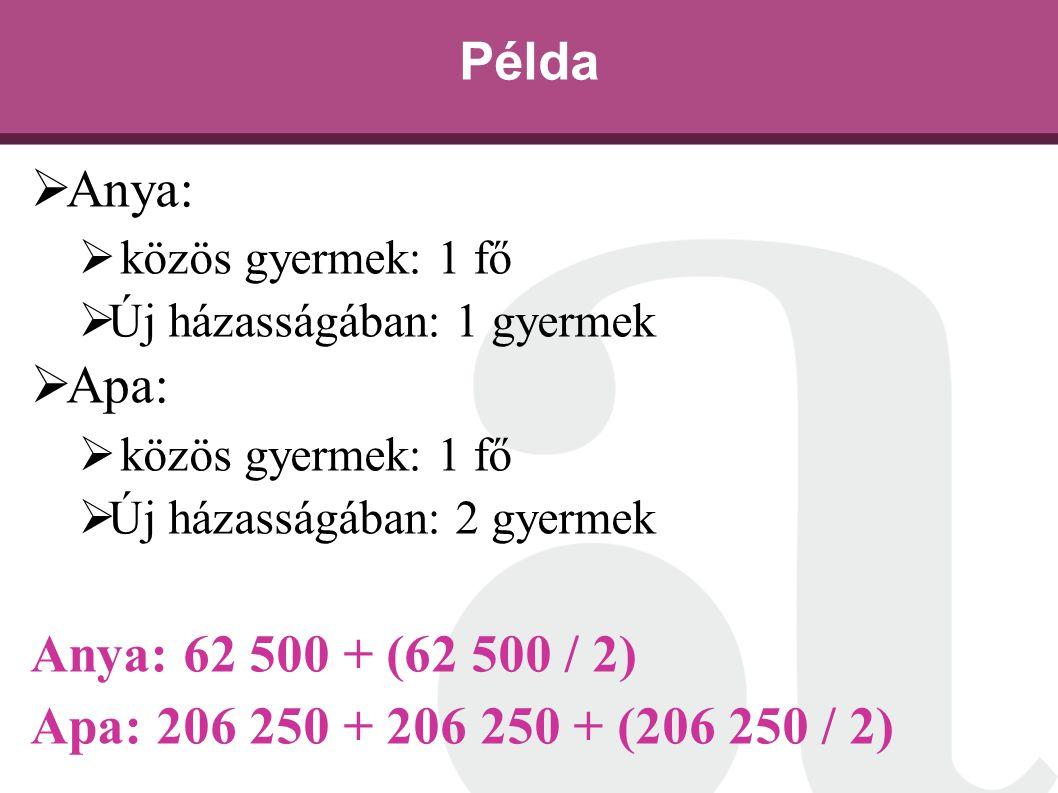 Példa Anya: Apa: Anya: 62 500 + (62 500 / 2)
