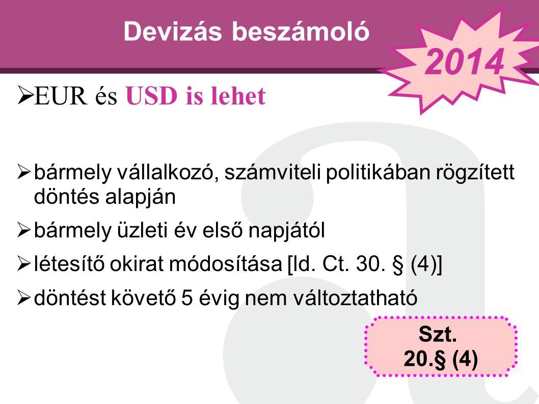 2014 Devizás beszámoló EUR és USD is lehet