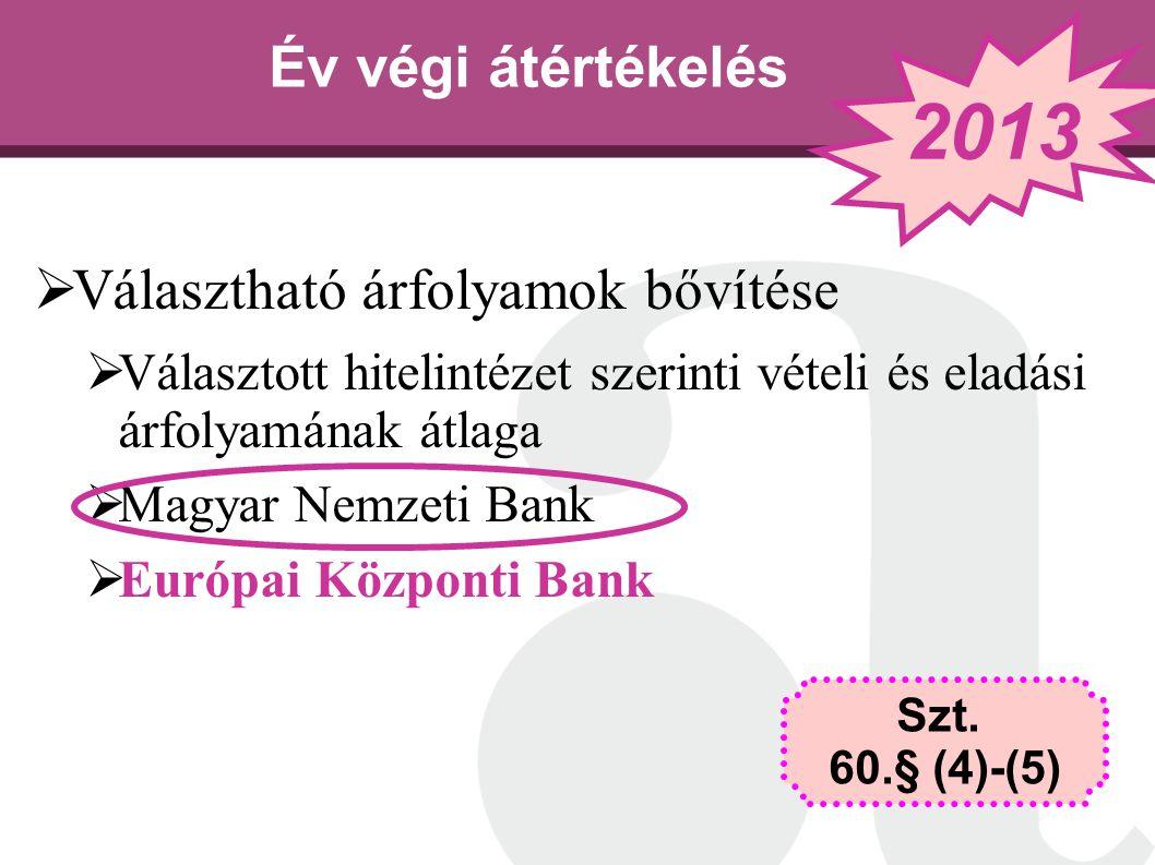 2013 Év végi átértékelés Választható árfolyamok bővítése